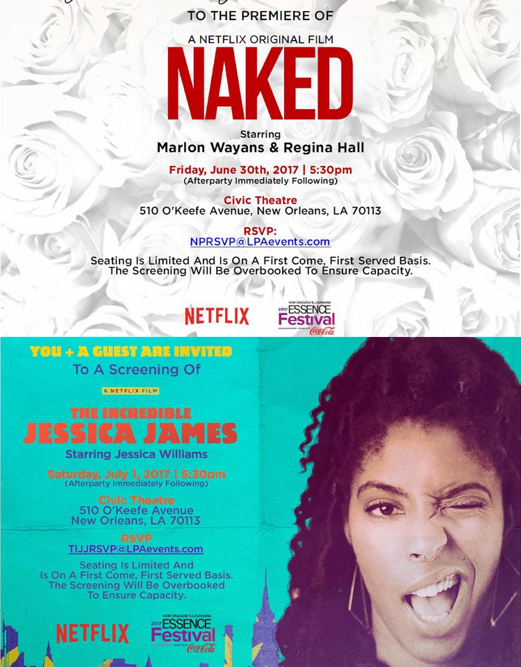 Free Movie Screening Passes to Original Netflix Films 'NAKED' & 'THE INCREDIBLE JESSICA JAMES'