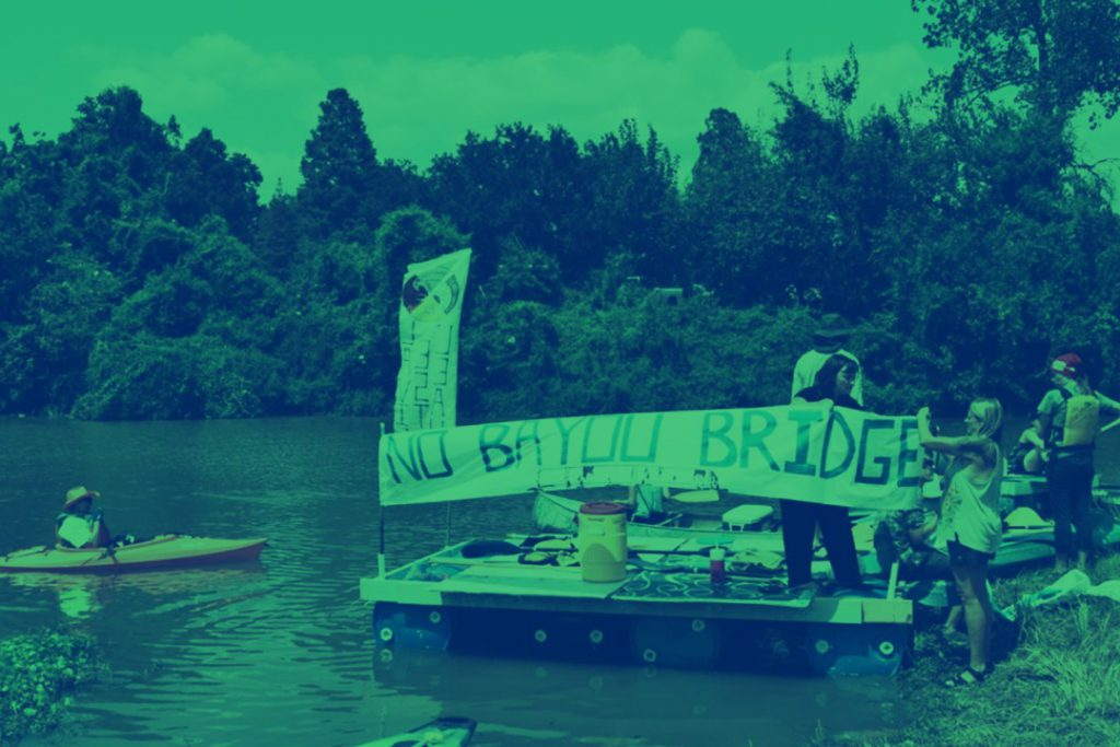 Louisiana's floating pipeline protest camp prepares to take on 'the black snake'